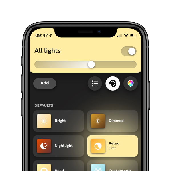 Philips Hue Bluetooth app screen