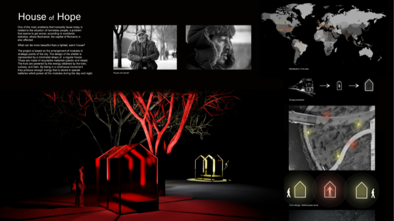 An honorable mention goes to the 'House of Hope' by Alexandra Joița and Corina Săndescu