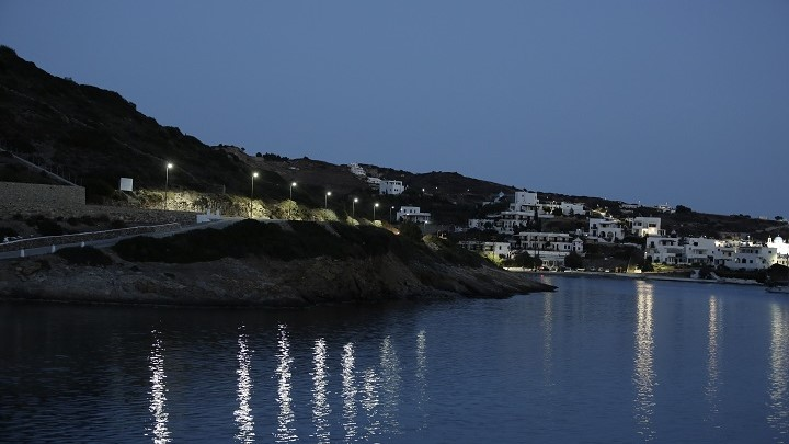 Solar lighting on Leipsoi Island in Greece