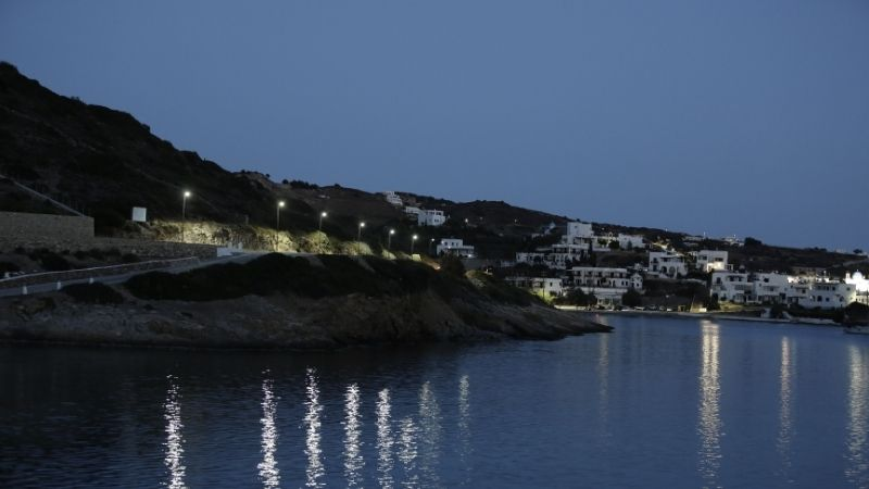 Greek island Leipsoi at night