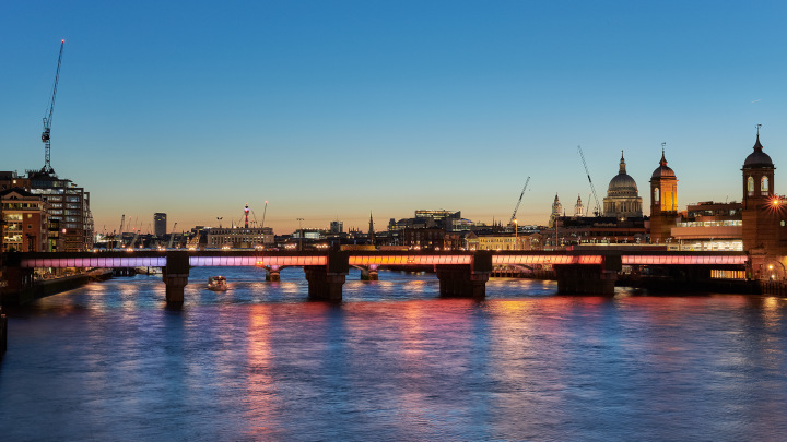 Four London bridges shine as part of world's longest public art commission