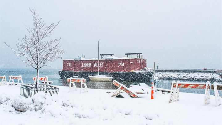 Red Hook's 1914 Lehigh Valley Barge No. 79 in a snow storm. Bklyn 2014