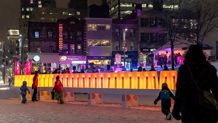 Domino Effect, a new interactive art installation brightens up winter in Montreal