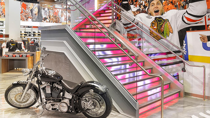 Chicago Sports Depot's stylish staircase makes a statement with dynamic LED lighting