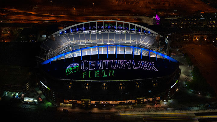 The Seattle Seahawks and CenturyLink Field shine bright from the rooftop with connected lighting from Signify