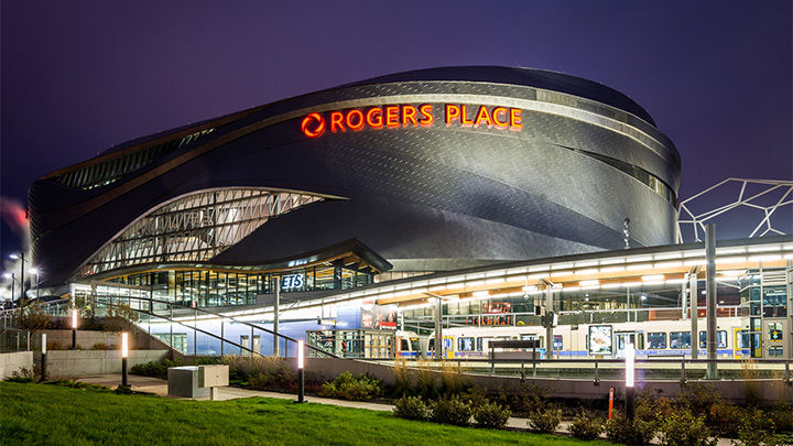 Lumec SoleCity and Leonis luminaires for Rogers Place in Edmonton